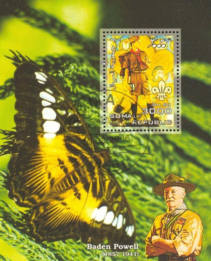 Stamps with Scouting, Butterflies, Baden Powell from Somalia (non official) (image for product #036676)