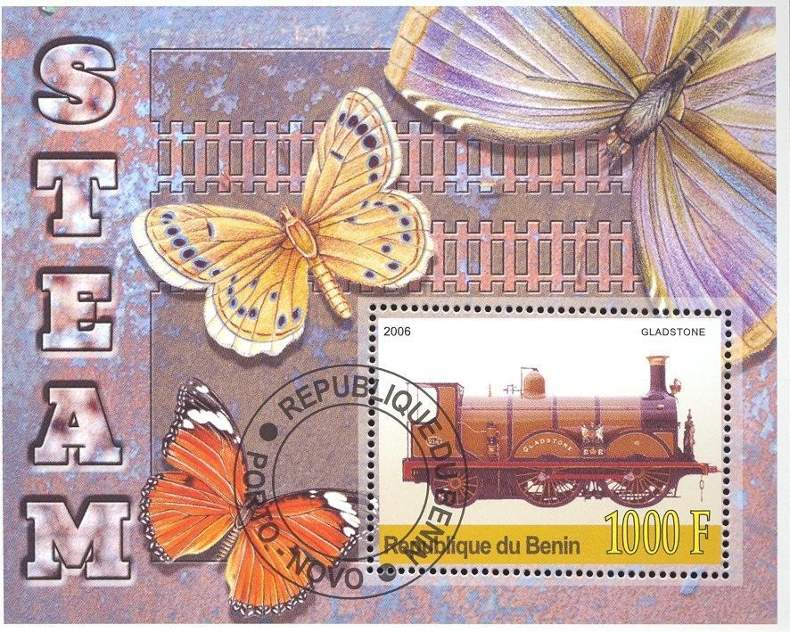 Stamps with Butterflies, Train / Railway from Benin (non official) (image for product #036683)