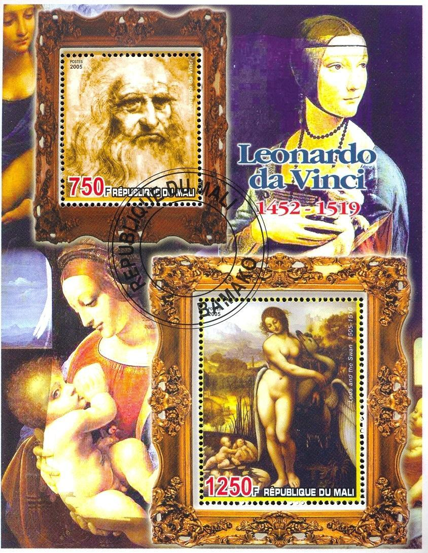 Stamps with Art, Nude, da Vinci (Leonardo), Swan from Mali (non official) (image for product #036685)