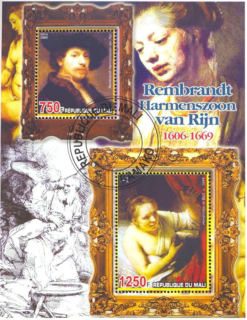 Stamps with Art, Nude, Rembrandt from Mali (non official) (image for product #036688)
