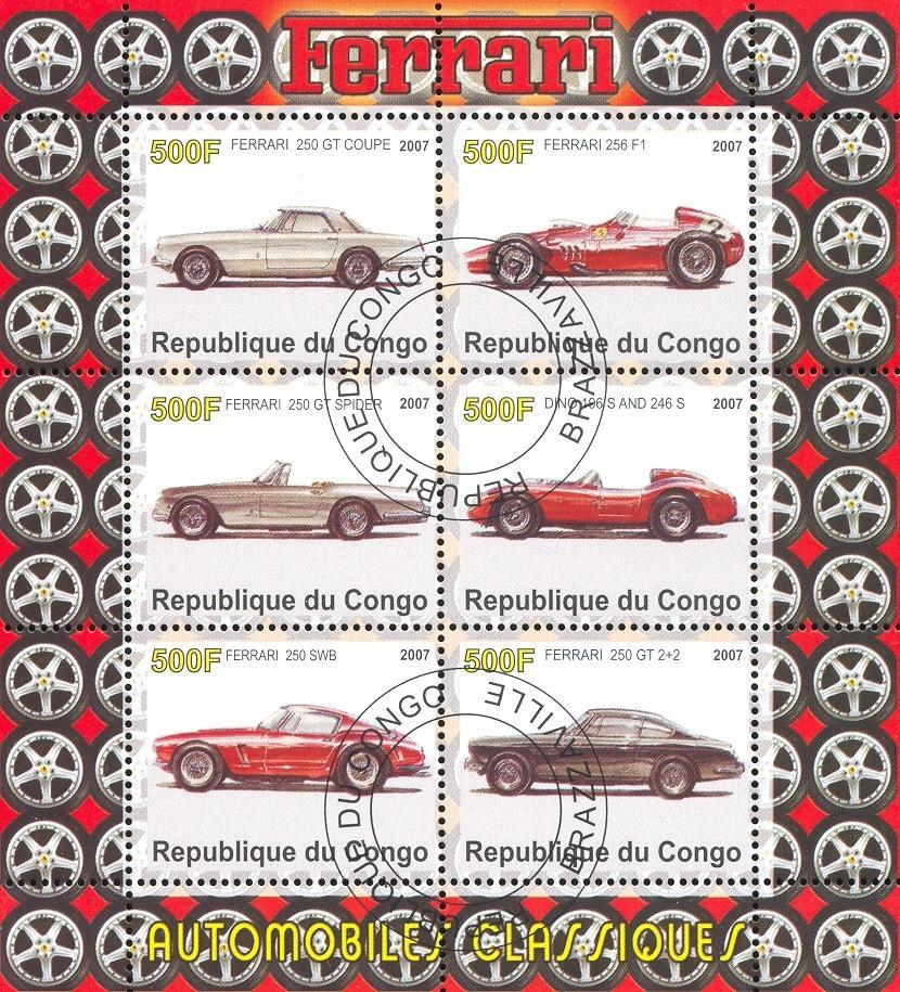 Stamps with Cars, Ferrari from Congo (image for product #036736)