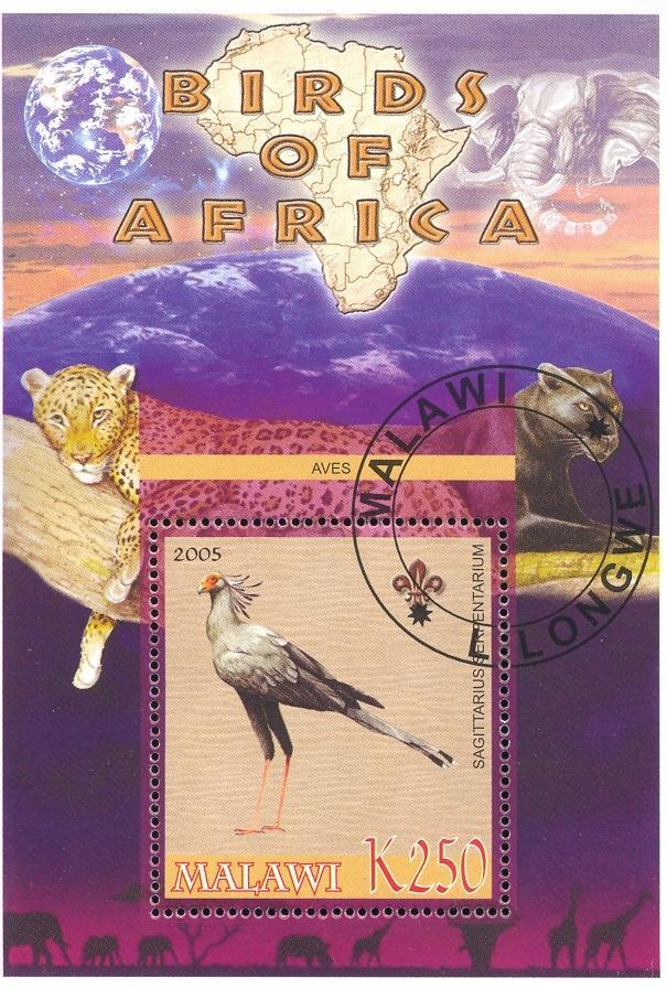 Stamps with Bird, Map, Scouting, Leopard from Malawi (non official) (image for product #036748)