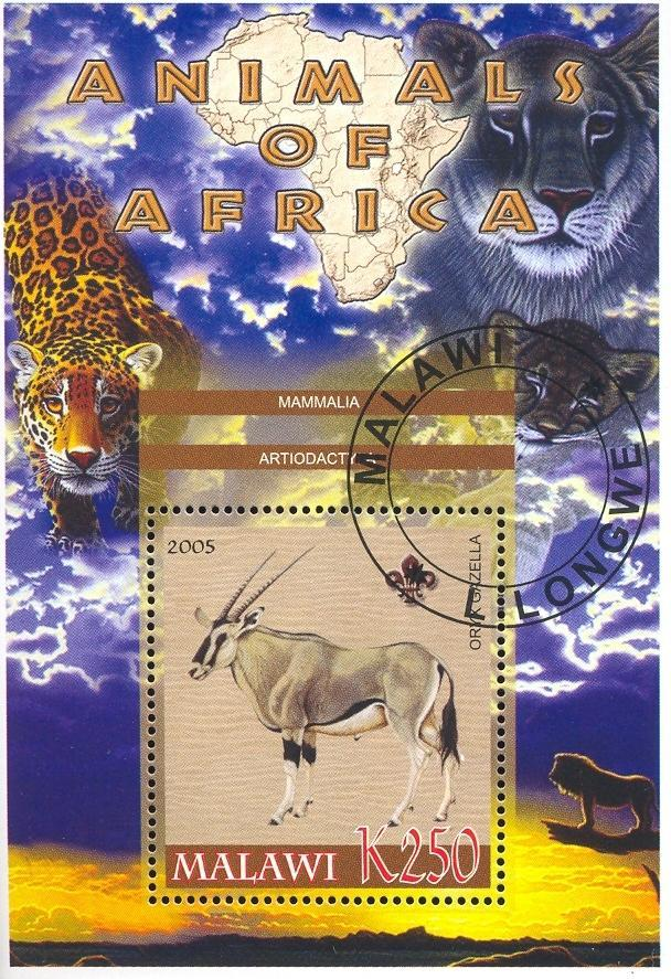 Stamps with Map, Scouting, Leopard, Lion from Malawi (non official) (image for product #036750)