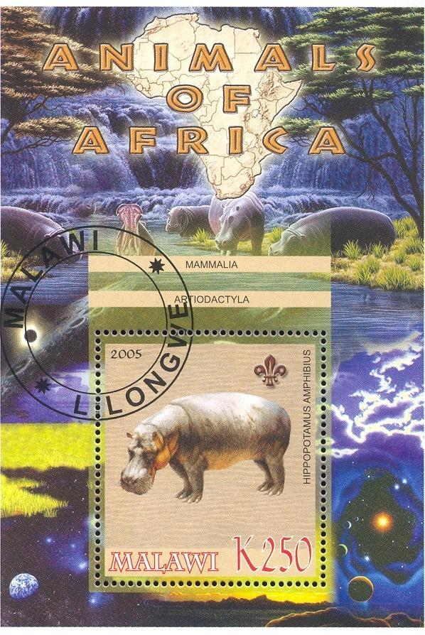 Stamps with Hippo, Map, Scouting from Malawi (non official) (image for product #036757)