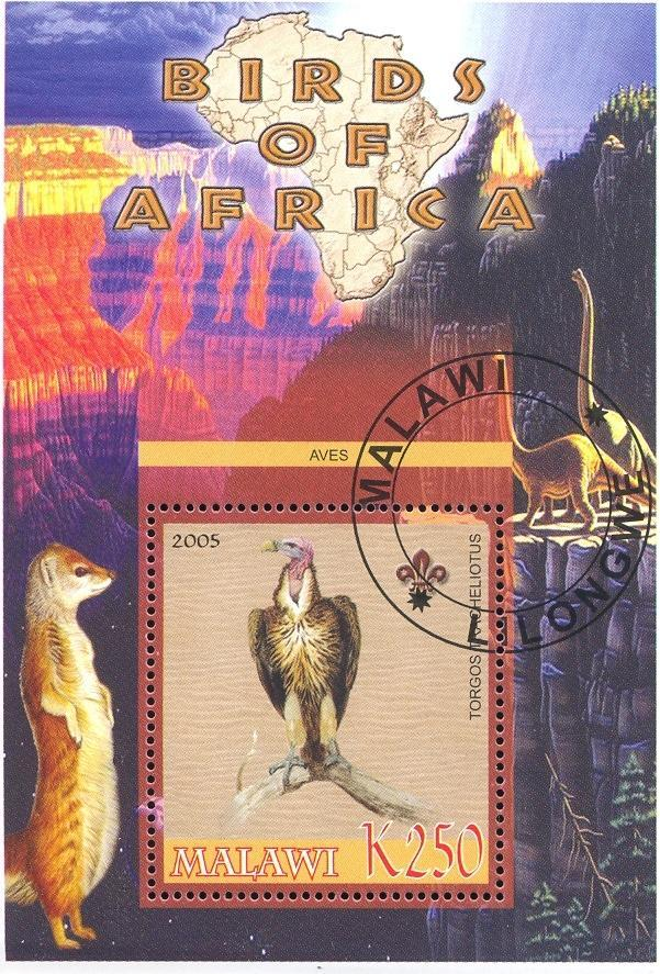 Stamps with Bird, Map, Scouting, Dinosaurs, Vulture from Malawi (non official) (image for product #036760)