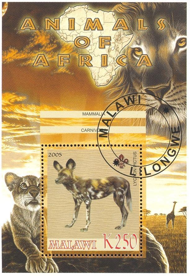 Stamps with Map, Scouting, Dogs, Lion, Giraf from Malawi (non official) (image for product #036762)