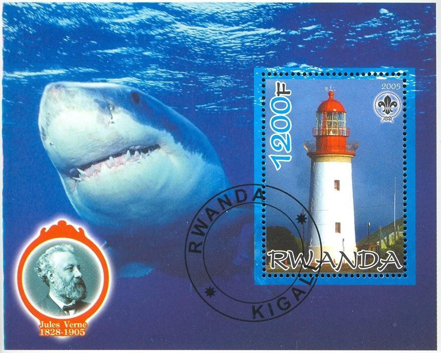 Stamps with Scouting, Lighthouse, Shark, Jules Verne from Rwanda (image for product #036769)
