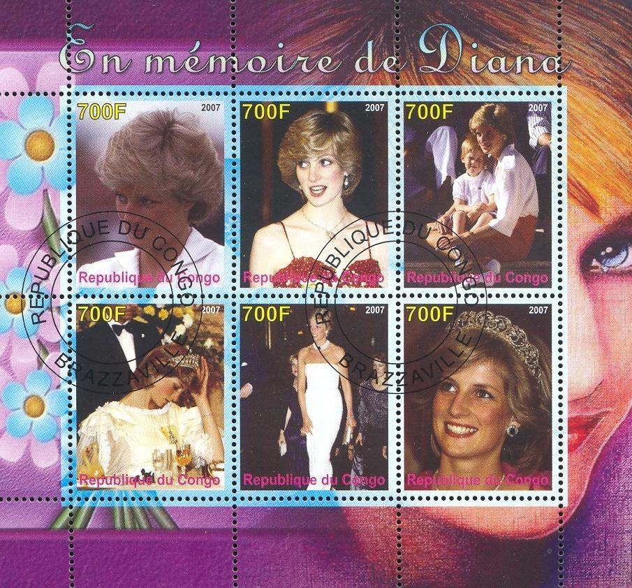 Stamps with Diana from Congo (image for product #036792)
