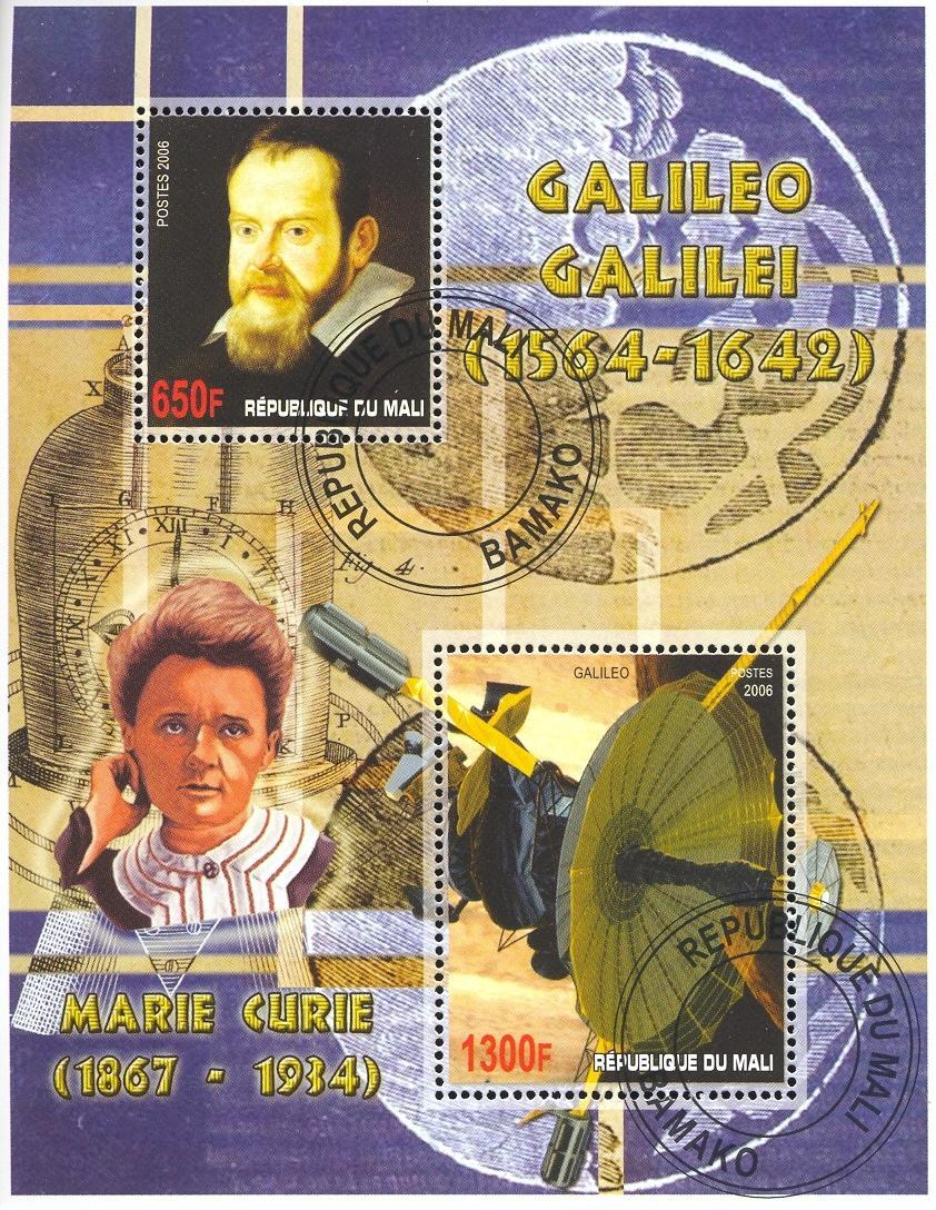 Stamps with Space, Curie (Marie), Galileo (Galilee) from Mali (image for product #036800)