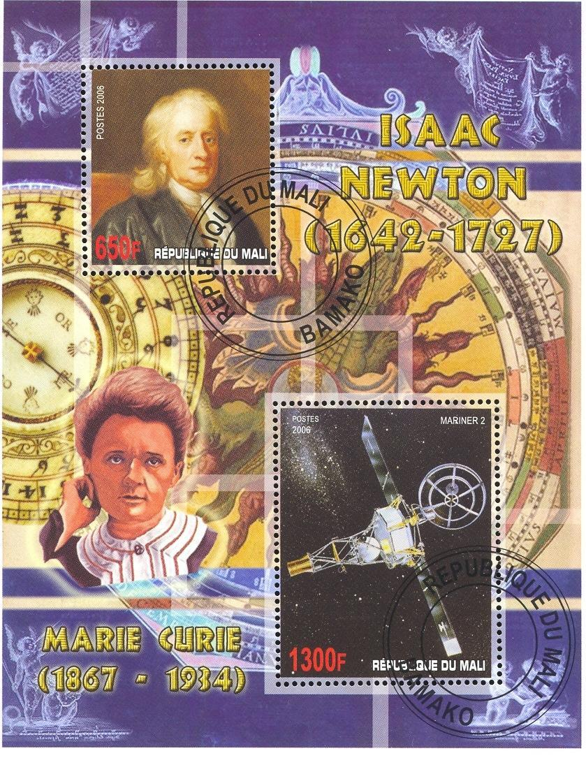 Stamps with Space, Curie (Marie), Newton (Isaac) from Mali (image for product #036805)
