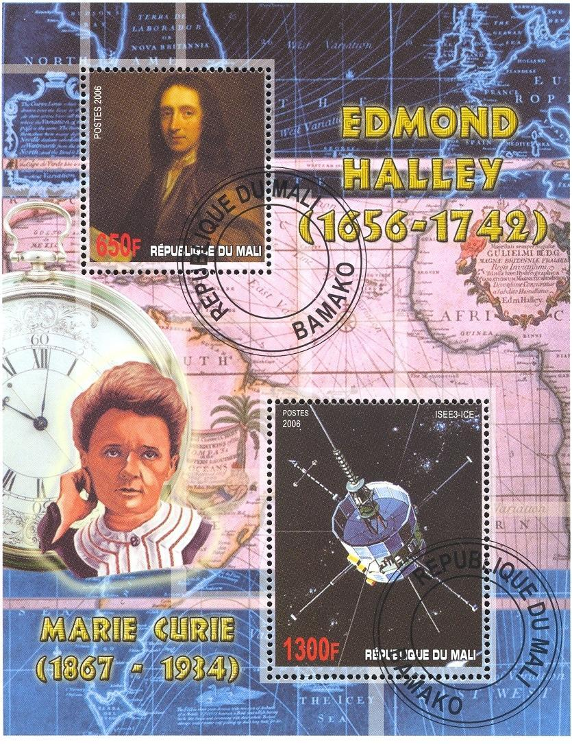 Stamps with Space, Map, Curie (Marie), Halley Comet from Mali (image for product #036807)