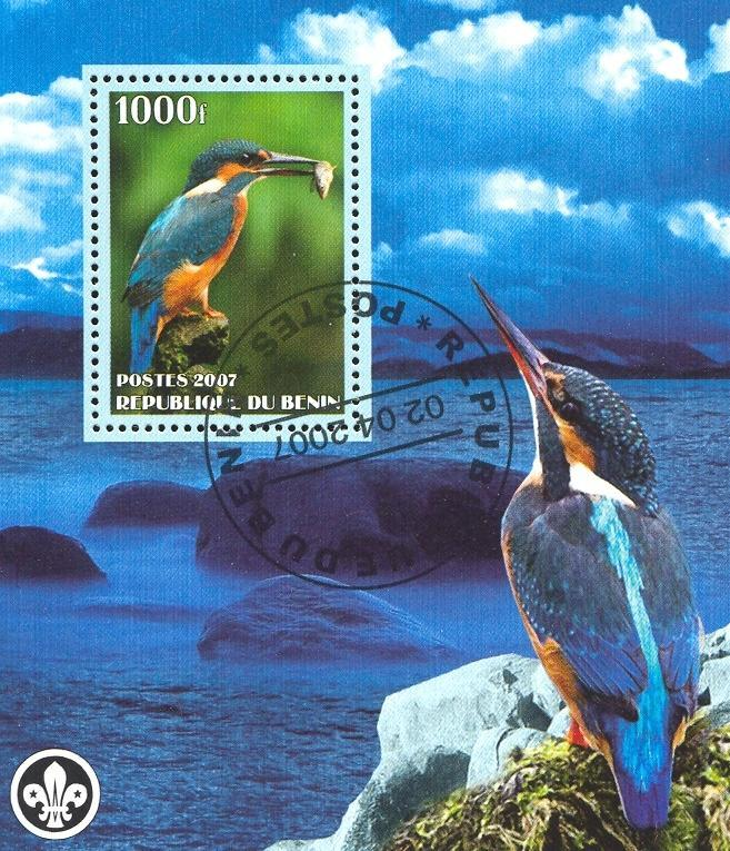 Stamps with Bird, Fish, Scouting, Kingfisher from Benin (non official) (image for product #036828)