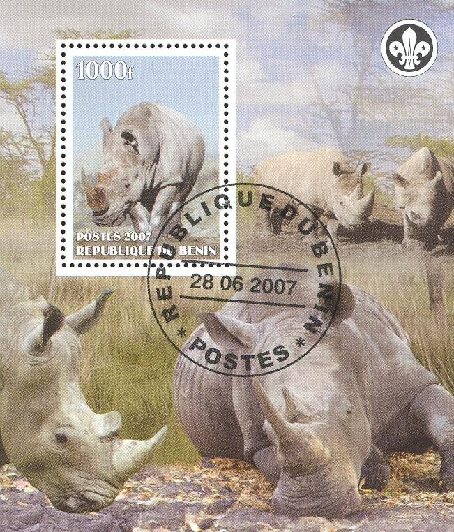 Stamps with Scouting, Rhinoceros from Benin (non official) (image for product #036835)