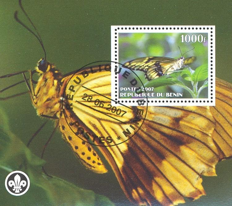Stamps with Butterflies, Scouting from Benin (non official) (image for product #036837)