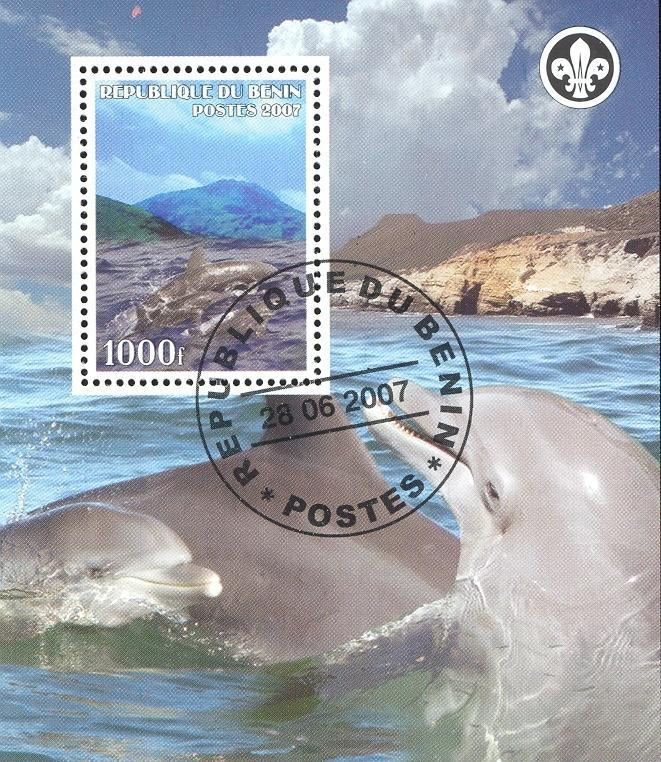 Stamps with Dolphin, Scouting from Benin (non official) (image for product #036840)