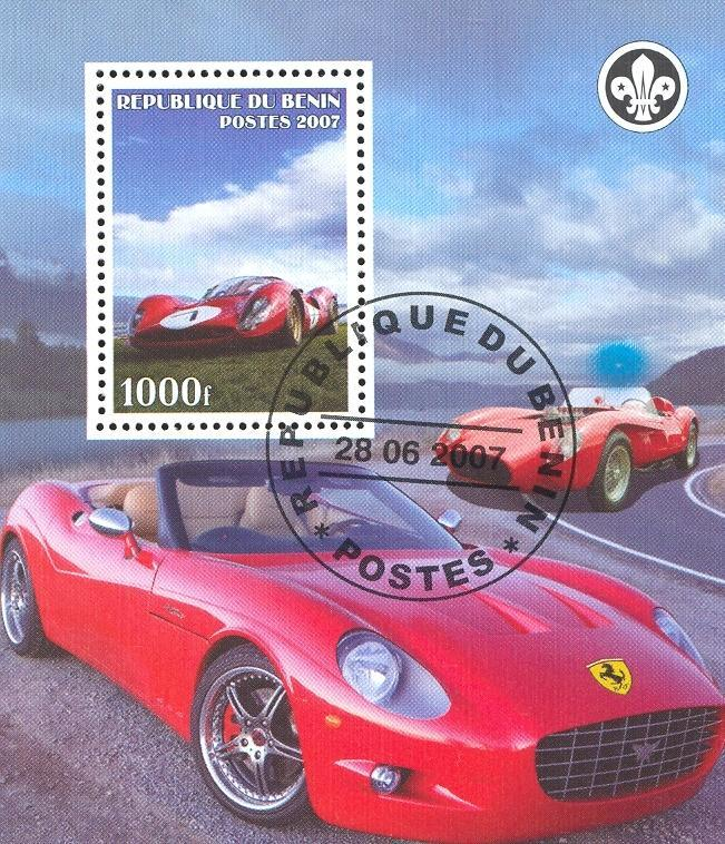 Stamps with Cars, Ferrari, Scouting from Benin (non official) (image for product #036842)
