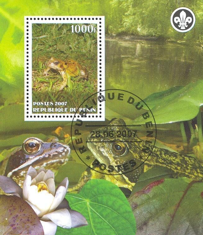 Stamps with Scouting, Frog from Benin (non official) (image for product #036847)