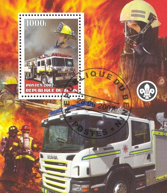 Stamps with Firefighters / engines, Scouting from Benin (non official) (image for product #036852)