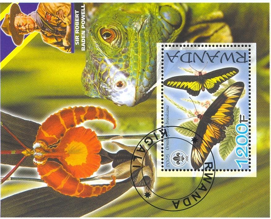Stamps with Scouting, Orchids, Butterflies, Baden Powell, Iguana from Rwanda (non official) (image for product #036859)