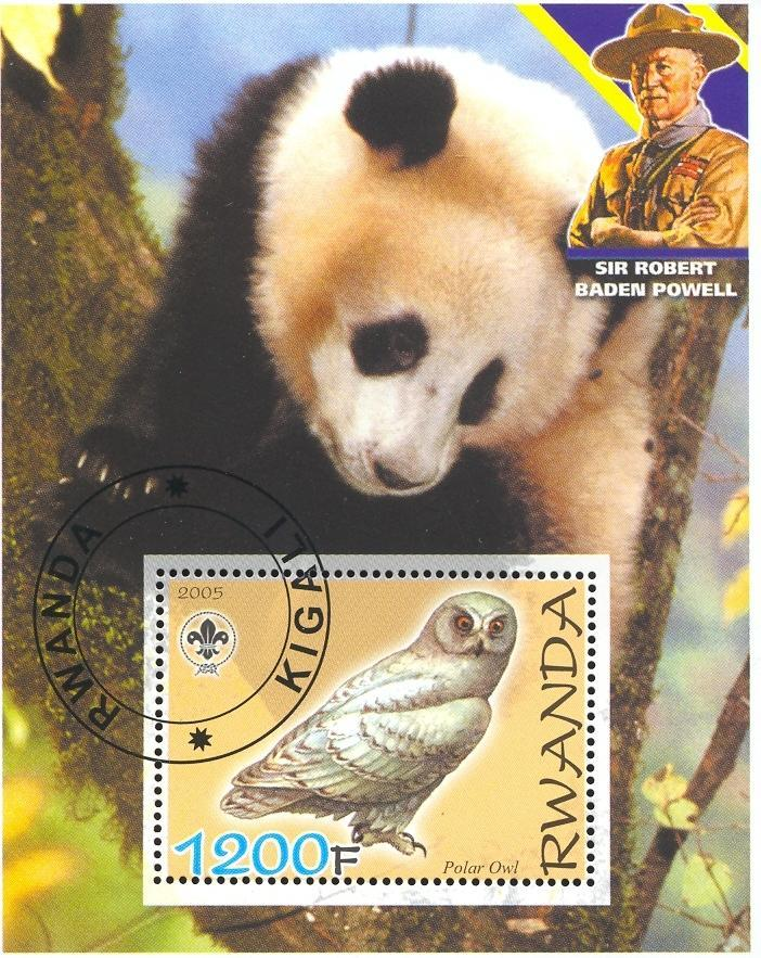 Stamps with Scouting, Owl, Giantpanda, Baden Powell from Rwanda (non official) (image for product #036861)