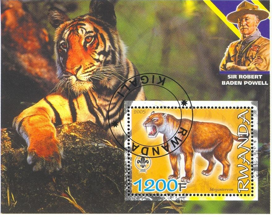 Stamps with Scouting, Tiger, Prehistory, Baden Powell from Rwanda (non official) (image for product #036864)