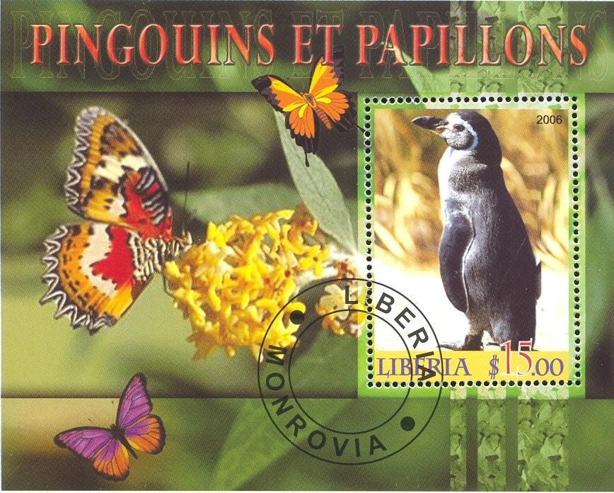 Stamps with Penguin, Butterflies from Liberia (image for product #036870)