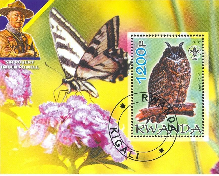 Stamps with Flowers, Scouting, Butterflies, Owl, Baden Powell from Rwanda (non official) (image for product #036875)