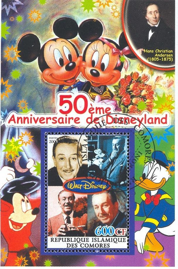 Stamps with Flowers, Disney, Cartoon, Magician from Comoros (non official) (image for product #036881)