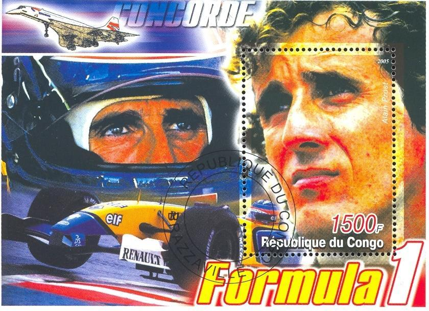 Stamps with Concorde, Formula 1, Racing Cars from Congo (image for product #036909)