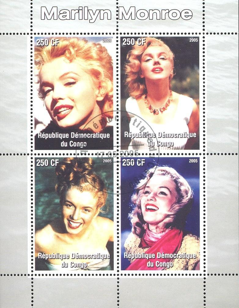Stamps with Movie Stars, Marilyn Monroe from Congo (non official) (image for product #036921)