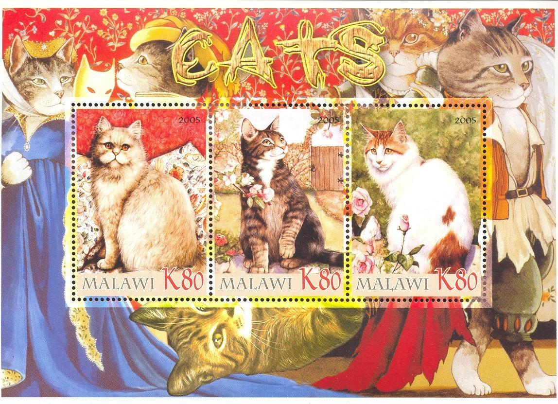 Stamps with Flowers, Roses, Cats from Malawi (non official) (image for product #036925)