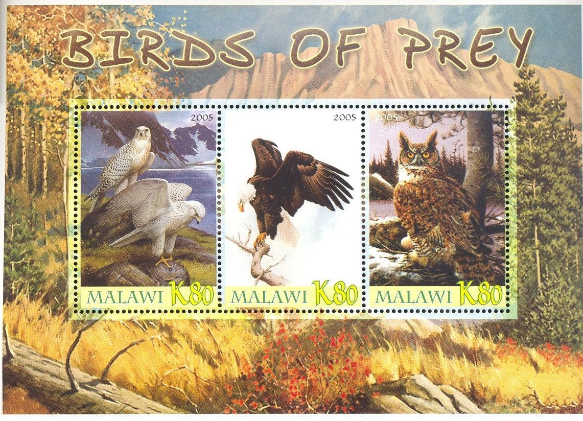 Stamps with Owl, Bird of prey from Malawi (non official) (image for product #036926)