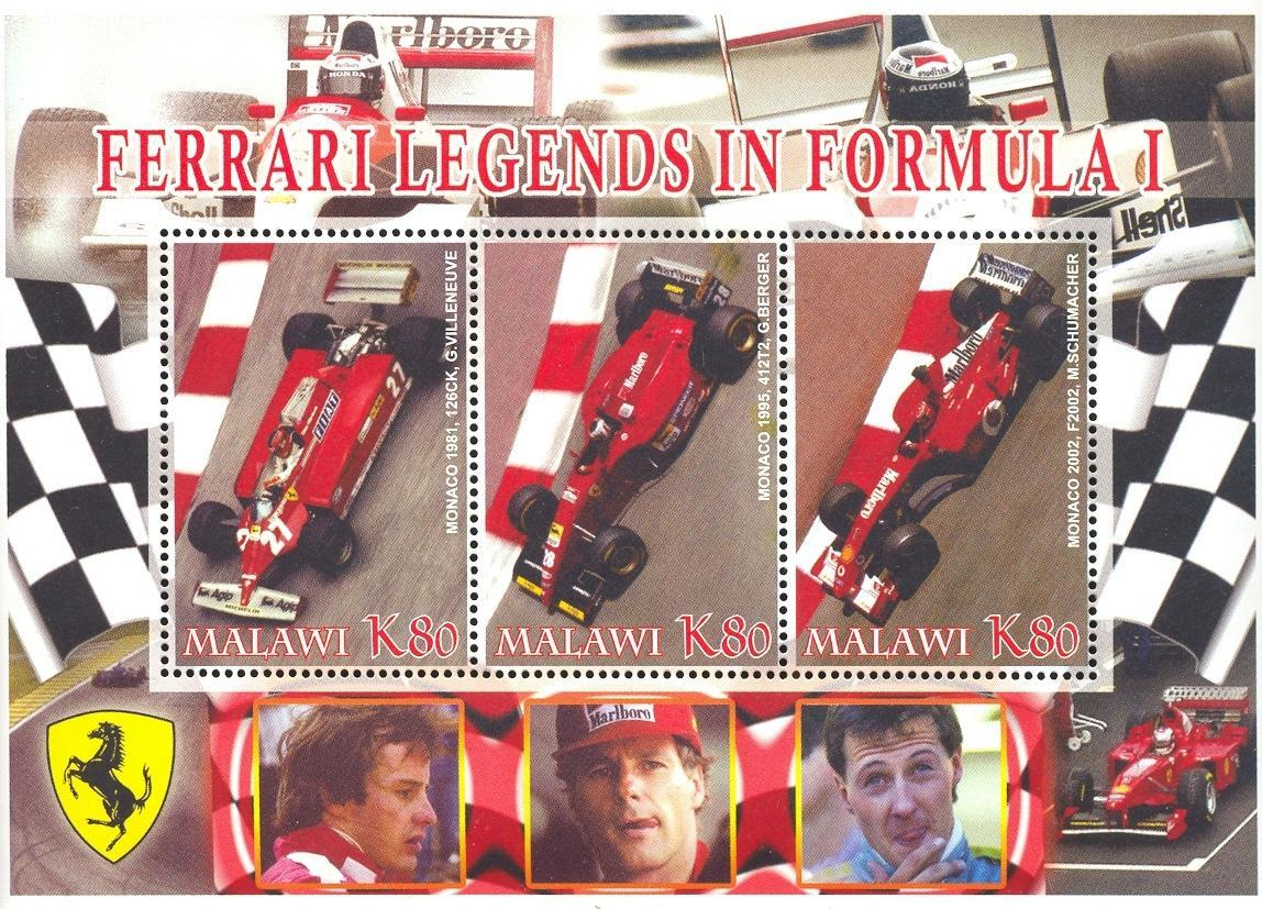 Stamps with Ferrari from Malawi (non official) (image for product #036928)