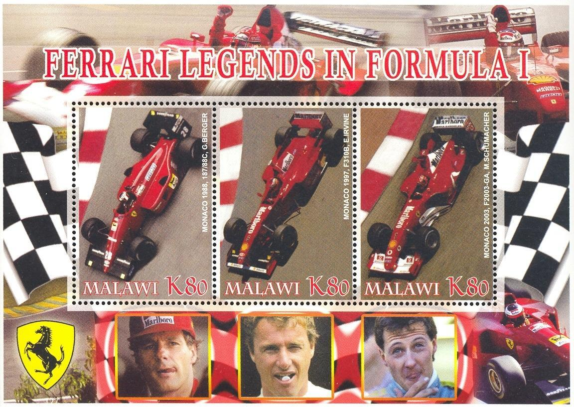 Stamps with Ferrari from Malawi (non official) (image for product #036929)