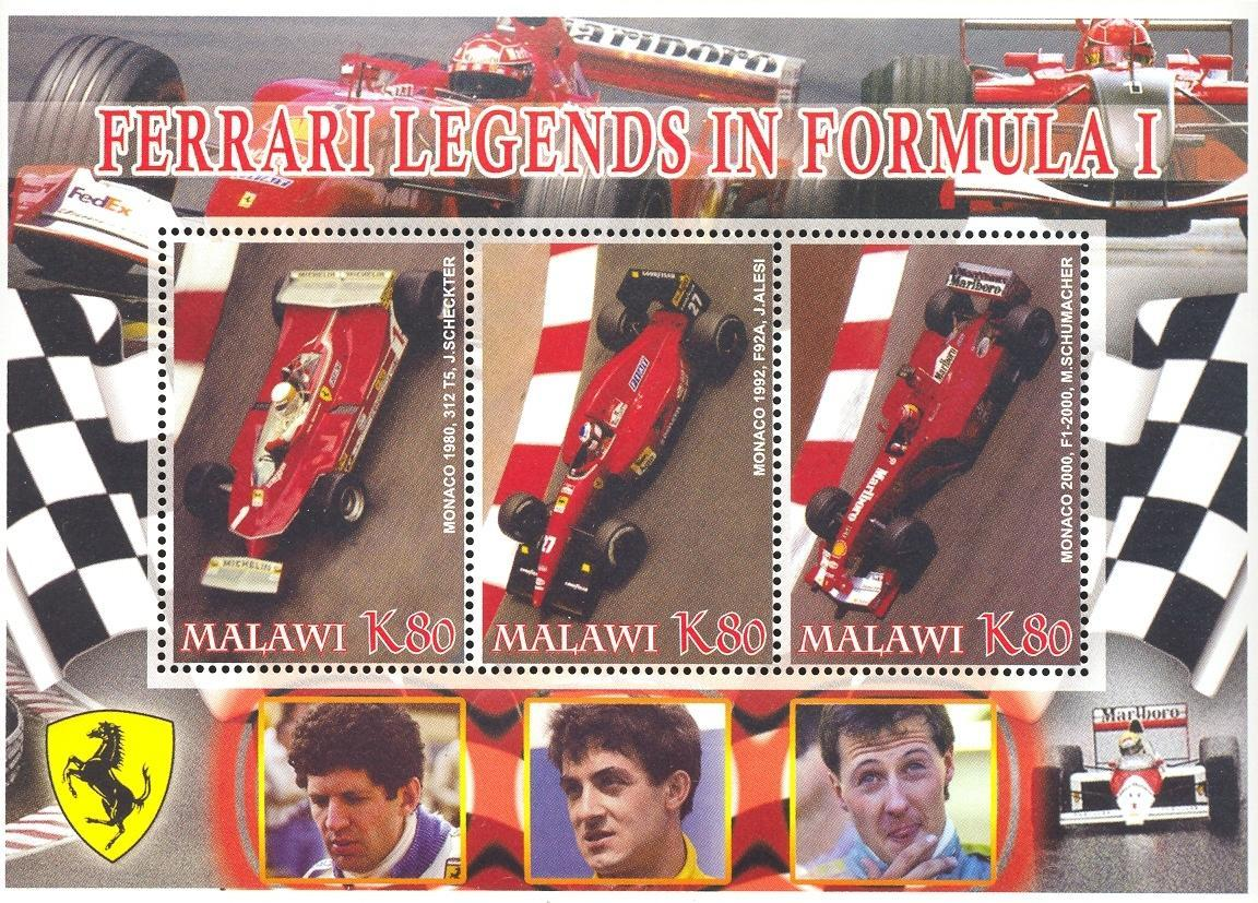 Stamps with Ferrari from Malawi (non official) (image for product #036930)