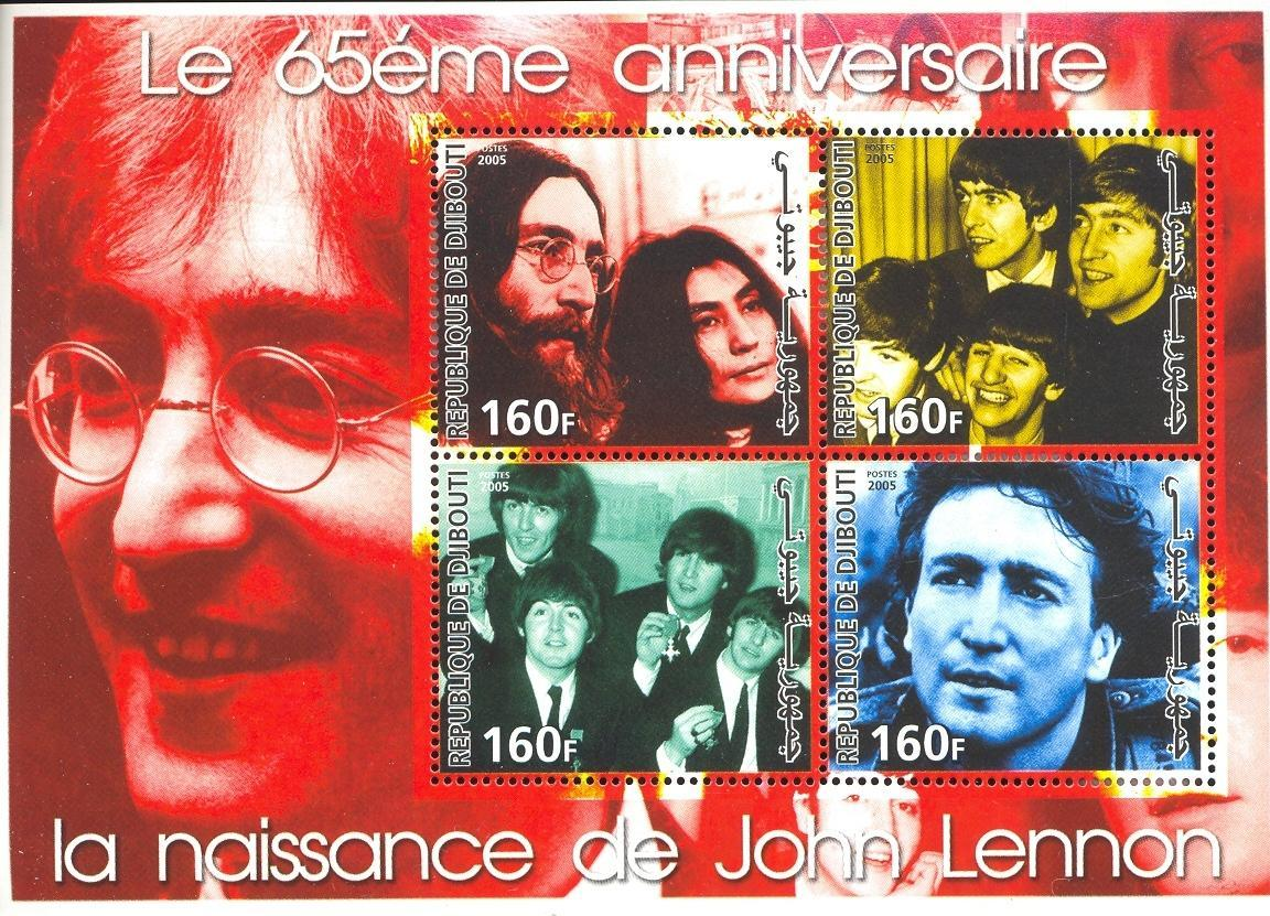 Stamps with Popstars, Beatles, John Lennon from Djibouti (non official) (image for product #036931)