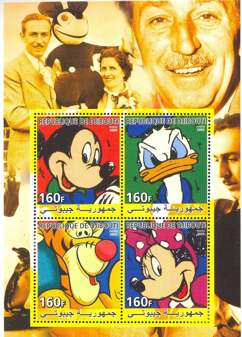 Stamps with Tiger, Penguin, Cartoon from Djibouti (non official) (image for product #036932)