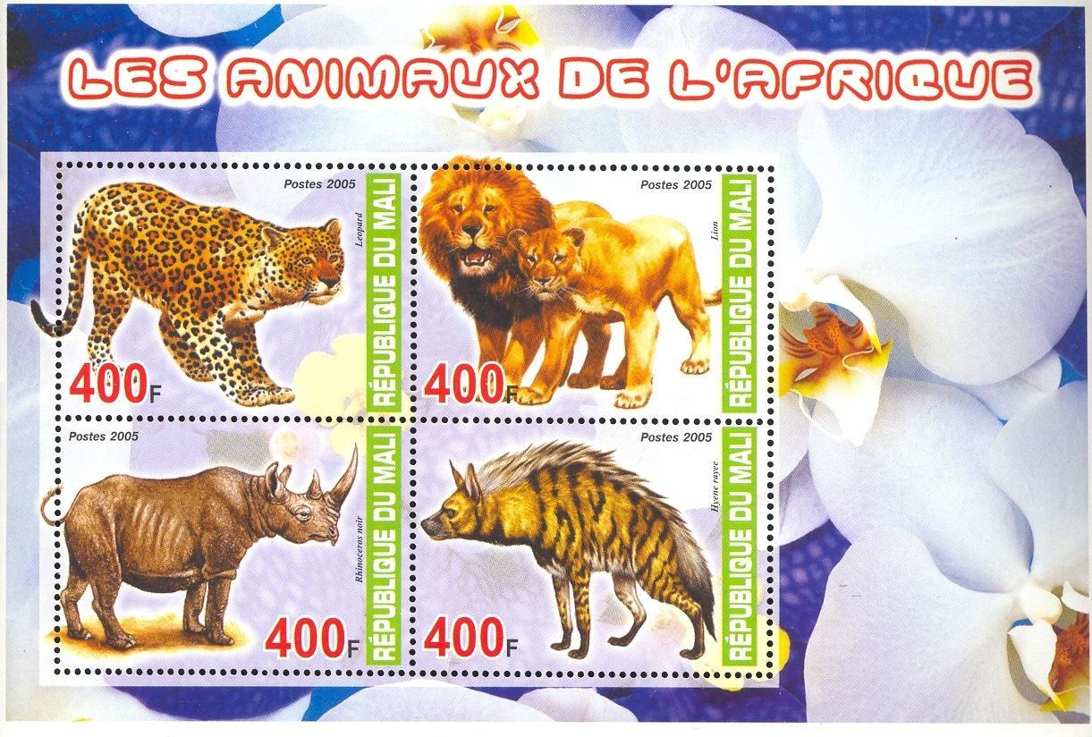 Stamps with Flowers, Rhinoceros, Leopard, Lion, Hyena from Mali (image for product #036933)