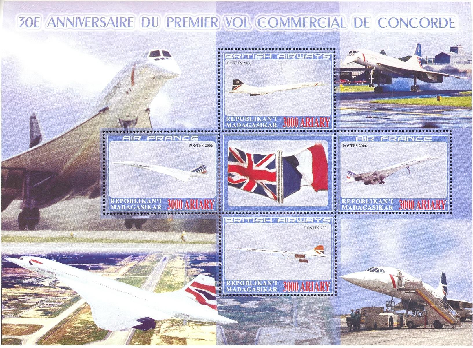 Stamps with Aircraft, Concorde from Madagascar (non official) (image for product #036944)