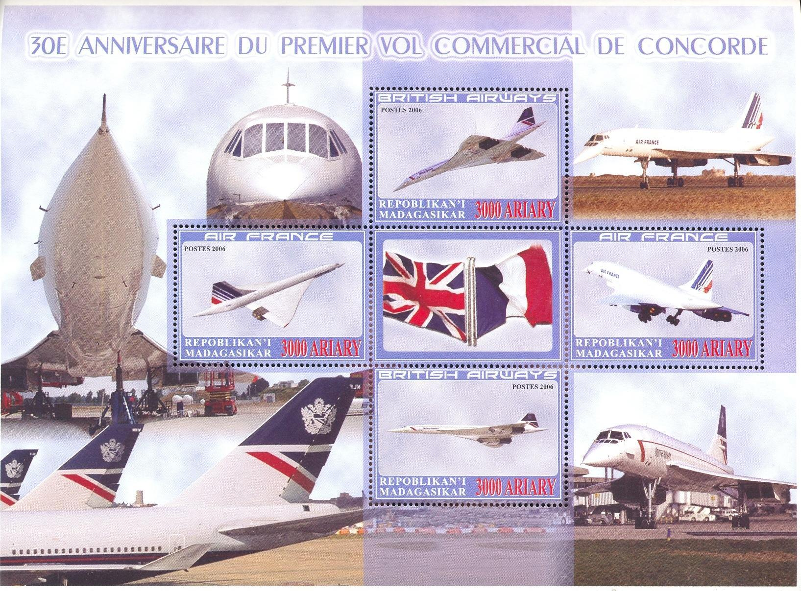 Stamps with Aircraft, Concorde, Flag from Madagascar (non official) (image for product #036945)