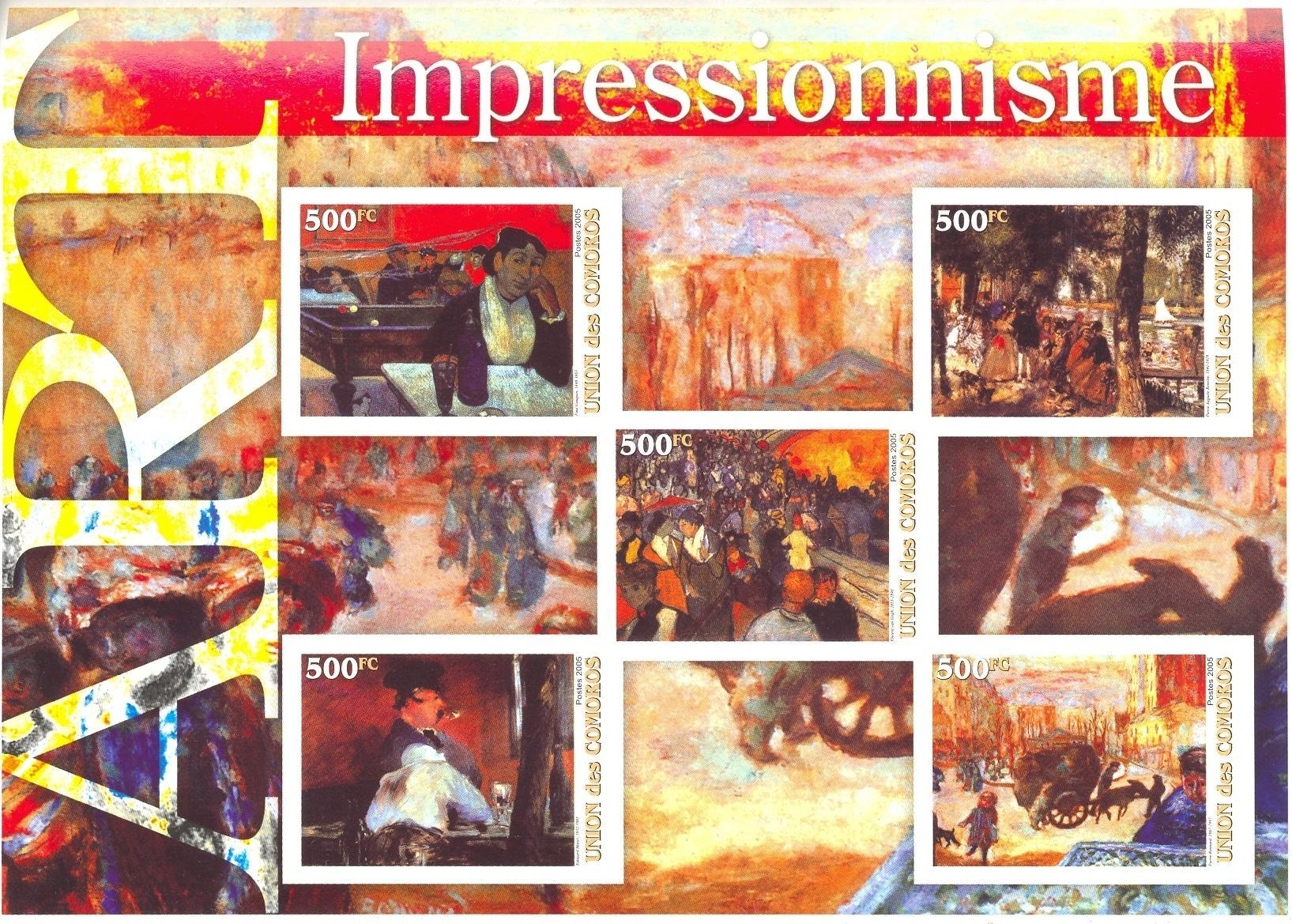 Stamps with Art, Dogs, Billiard from Comoros (non official) (image for product #036948)