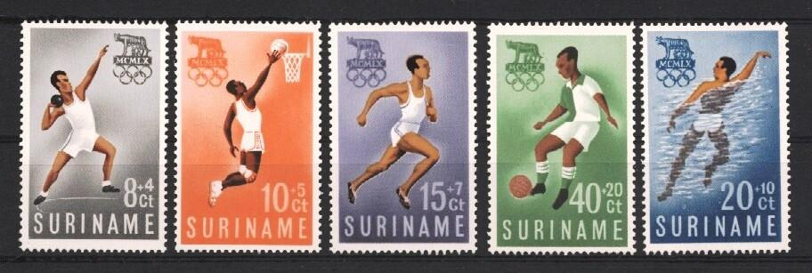 Stamps with Olympic Games, Basketball, Soccer from Suriname (image for product #037220)