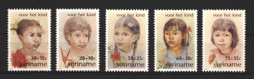 Stamps with Flowers, Children from Suriname (image for product #037237)