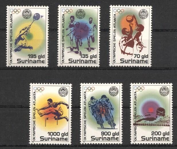 Stamps with Olympic Games, Swimming, Bicycle, Hurdles, Basketball, Tennis from Suriname (image for product #037243)