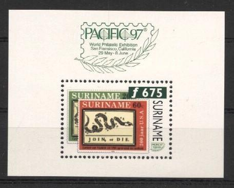 Stamps with Stamp on Stamp, Snake from Suriname (image for product #037255)