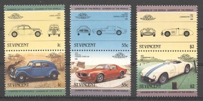 Stamps with Cars, Oldtimers from St. Vincent (image for product #037372)