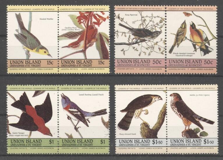 Stamps with Bird, Audubon from Bequia (image for product #037374)