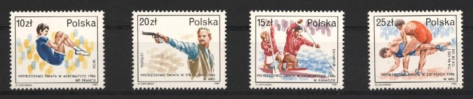 Stamps with Wrestling, Gymnastics, Canoe, Shooting from Poland (image for product #037479)