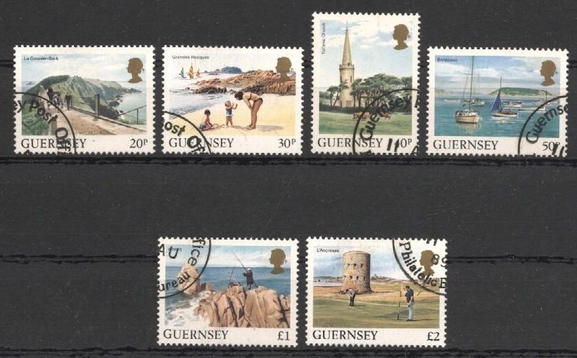 Stamps with Ship, Fishing, Booklet / Pane, Sights, Fortress from Guernsey (image for product #037509)