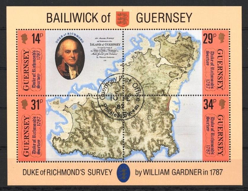 Stamps with Map from Guernsey (image for product #037521)